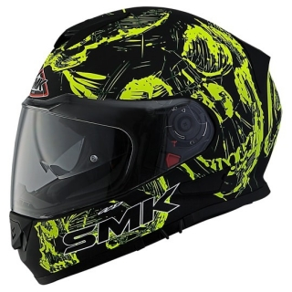 SMK Twister Skull Gloss Full Face Helmet-Black/Yellow